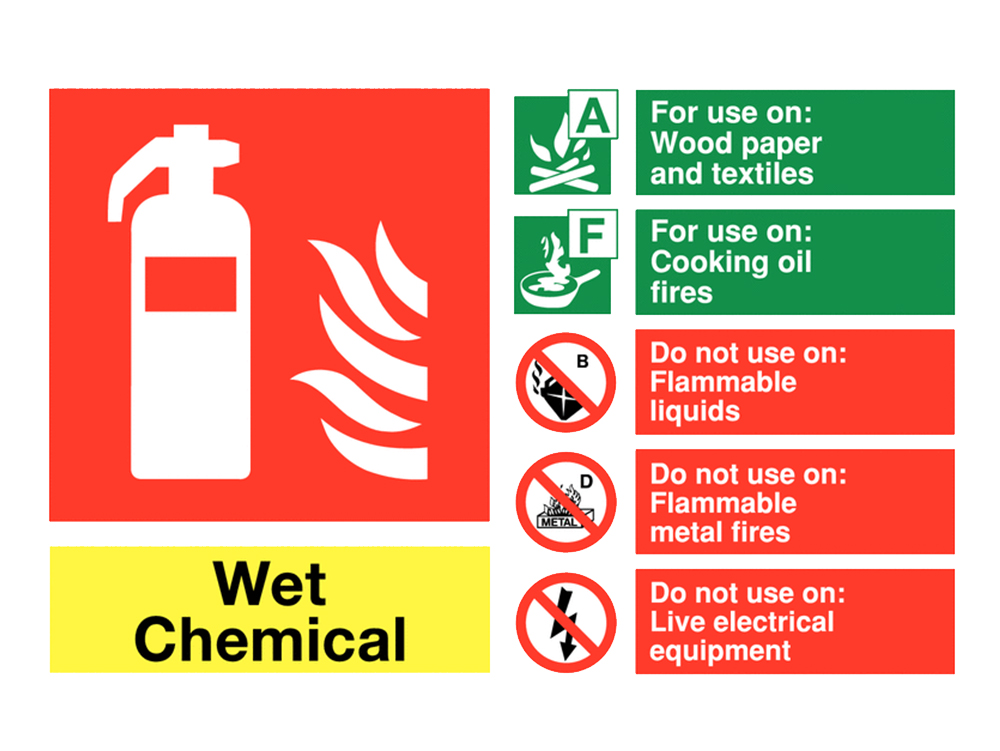 Wet Chemical Fire Extinguisher Sign UK 2017