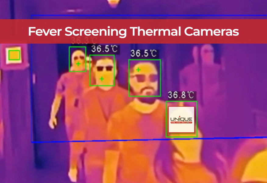People being fever screened by thermal imaging camera installed by Unique
